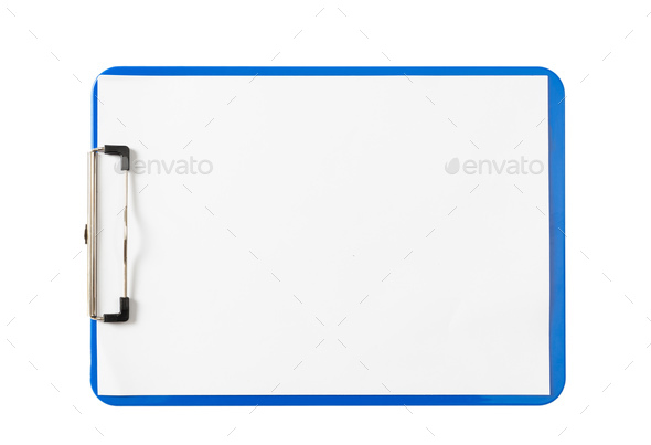 Blue clipboard with blank paper sheets isolated on white background, copy space, top view - Stock Photo - Images