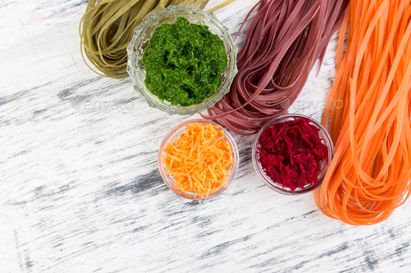 Colored Raw Vegetable Vegetarian Pasta. - Stock Photo - Images