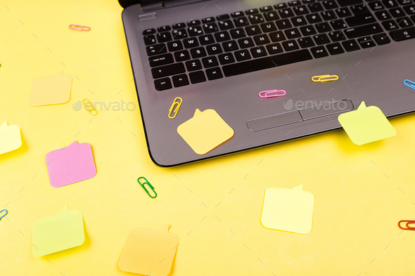 Notebook with stickers. - Stock Photo - Images