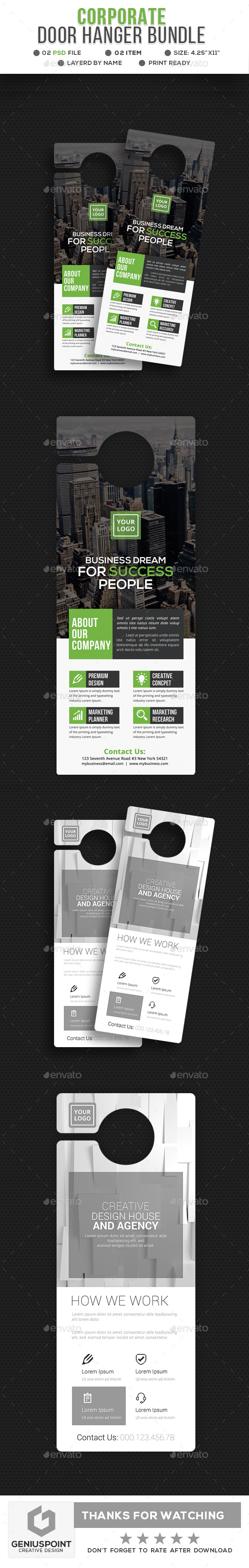 Corporate Door Hanger Bundle - Miscellaneous Print Templates