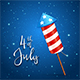 Firework and Text 4th of July on Blue Background - GraphicRiver Item for Sale
