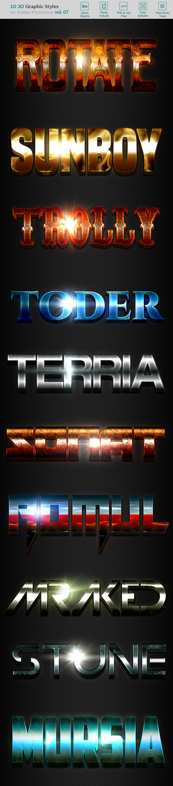10 3D Styles vol. 07 - Text Effects Styles