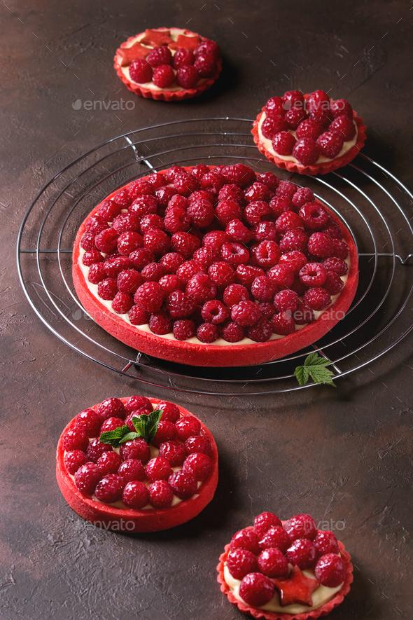 Variety of raspberry tarts - Stock Photo - Images