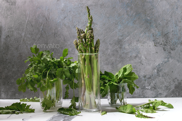 Asparagus ang greens - Stock Photo - Images