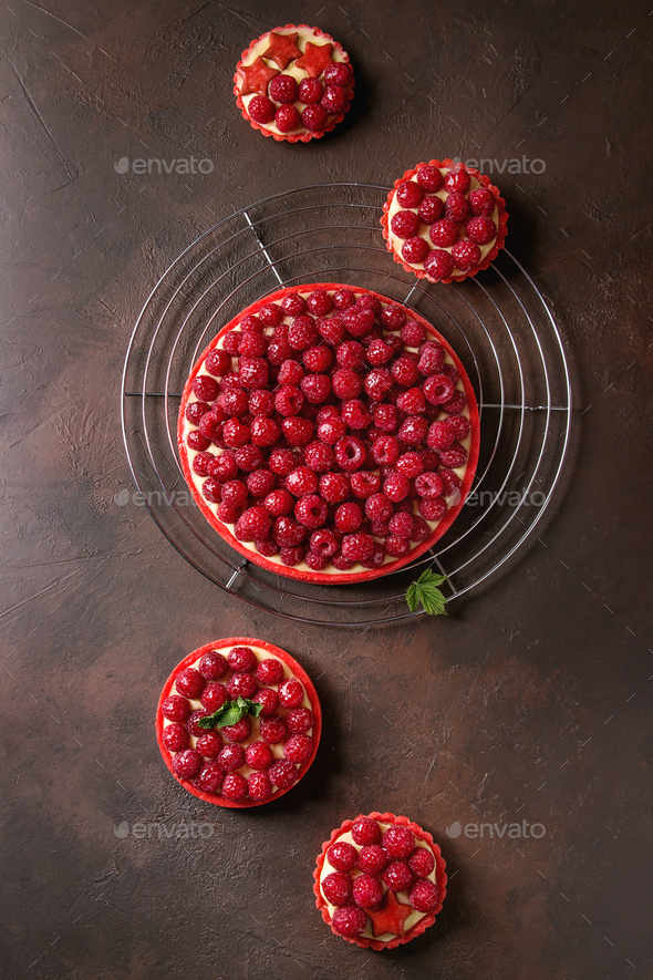 Variety of raspberry tarts - Stock Photo - Images