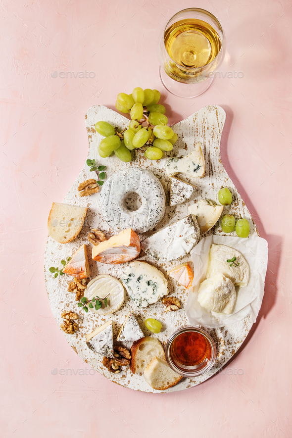 Cheese plate with honey - Stock Photo - Images