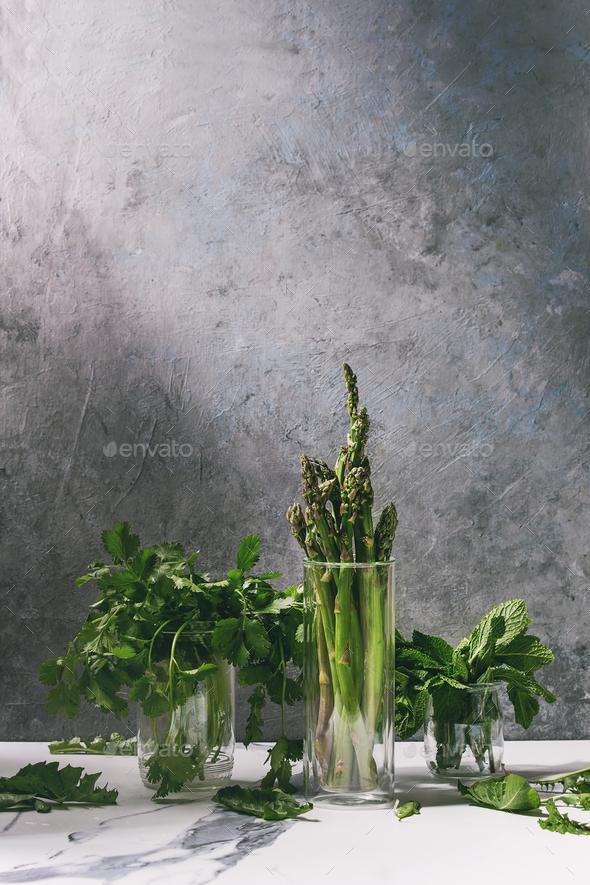 Asparagus ang greens - Stock Photo - Images