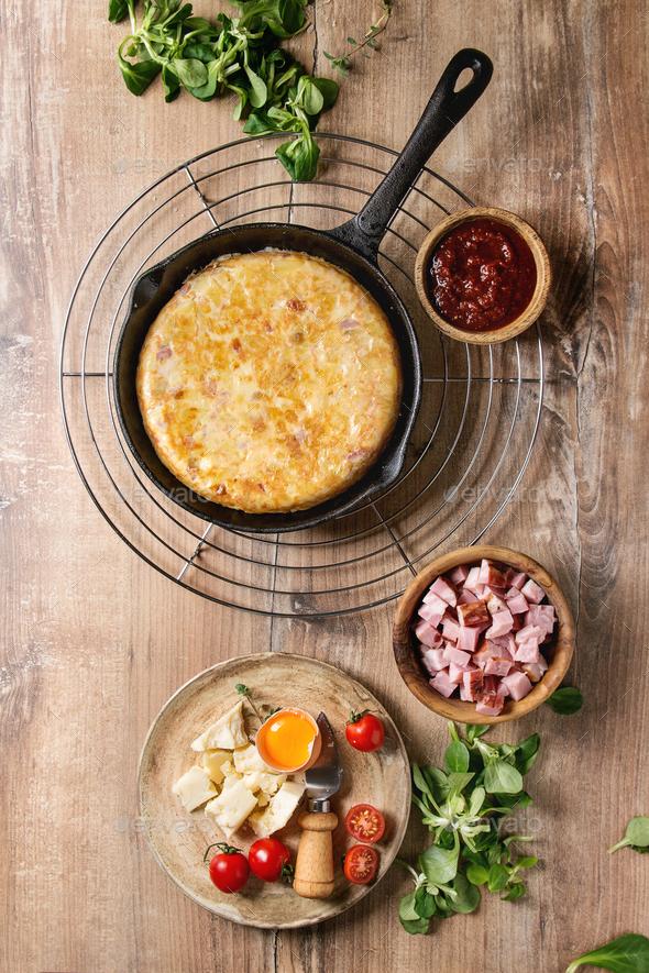 Potato tortilla with bacon - Stock Photo - Images