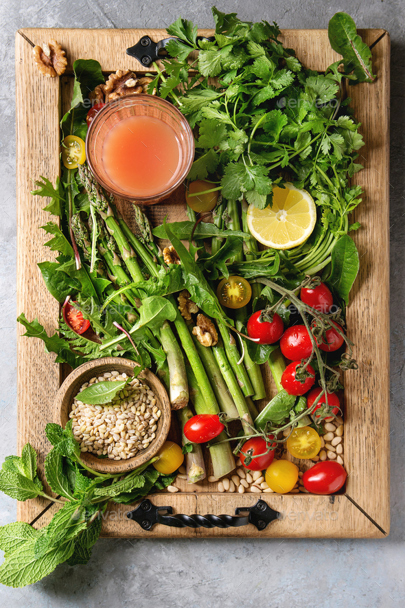 Assortment of vegetarian food ingredients - Stock Photo - Images
