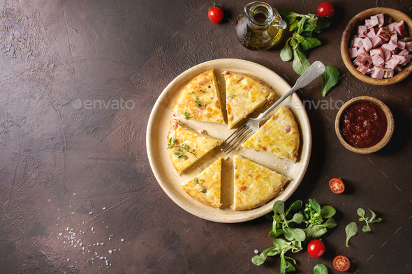 Potato tortilla with bacon - Stock Photo - Images