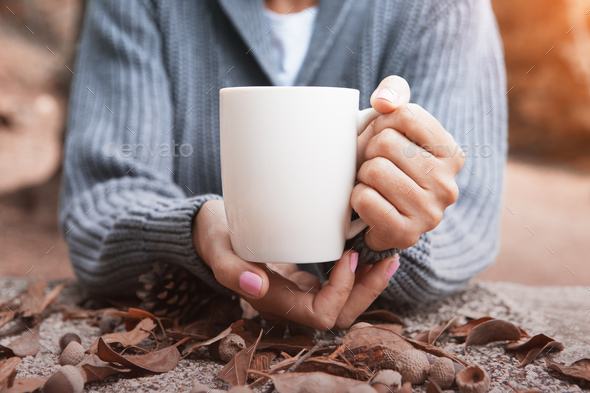 Cup of coffee in autumn - Stock Photo - Images
