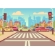 Cartoon City Crossroads with Cars in Traffic Jam