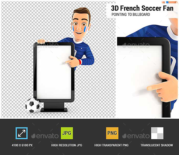 3D French Soccer Fan Pointing to Blank Billboard - Characters 3D Renders