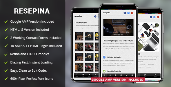 Resepina Mobile | Mobile Template & Google AMP - Mobile Site Templates