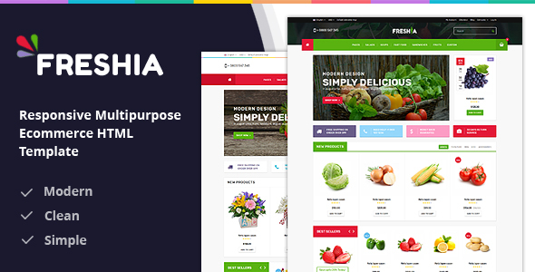 Freshia Responsive Ecommerce HTML Template - Food Retail