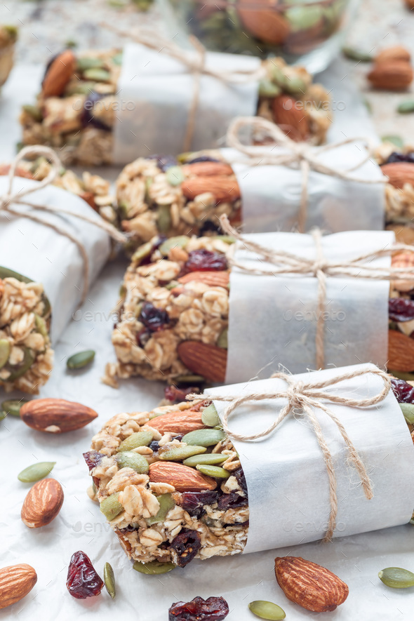 Homemade granola energy bars with figs, oatmeal, almond, dry cra - Stock Photo - Images