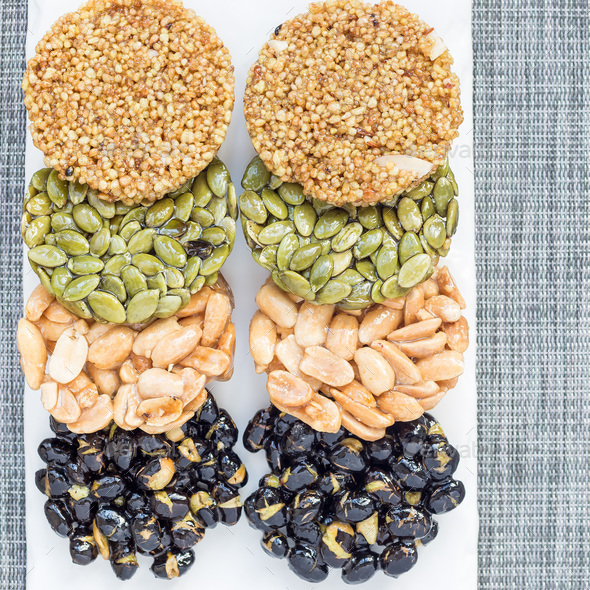 Korean traditional sweet snacks. Healthy energy snacks. Top view - Stock Photo - Images
