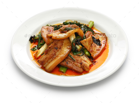 traditional twice cooked pork, Sichuan style chinese dish  - Stock Photo - Images