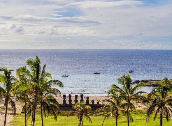 Moais on Easter Island, Chile - Stock Photo - Images