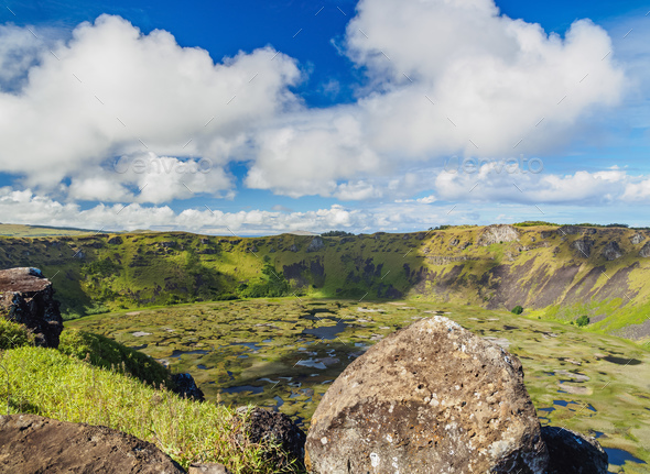 Rano Kau Volcano on Easter Island, Chile - Stock Photo - Images