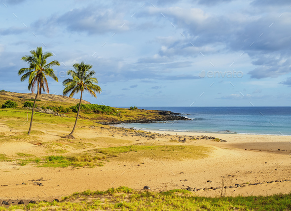 Anakena Beach on Easter Island, Chile - Stock Photo - Images