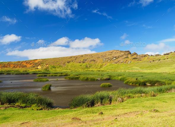 Rano Raraku Volcano on Easter Island, Chile - Stock Photo - Images