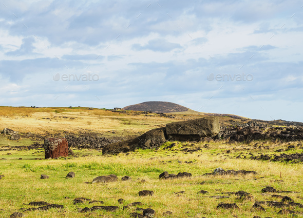 Moai on Easter Island, Chile - Stock Photo - Images