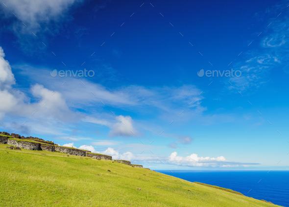Orongo Village on Easter Island, Chile - Stock Photo - Images