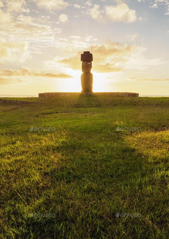 Moai on Easter Island, Chile - Stock Photo - Images