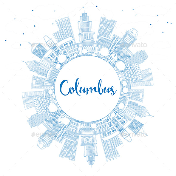 Outline Columbus Skyline with Blue Buildings and Copy Space - Buildings Objects