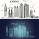 Minimal Kansas Linear City Skyline - GraphicRiver Item for Sale