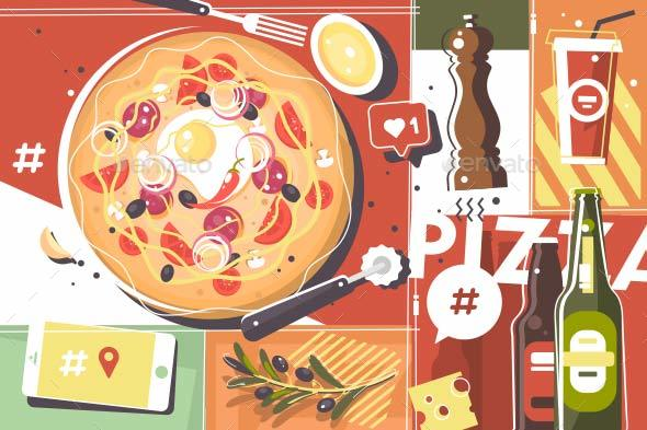 Pizza Abstract Background - Miscellaneous Vectors
