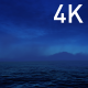 Blue Cirrus Clouds in the Night Sky with the Fog and the Dark Ocean - VideoHive Item for Sale