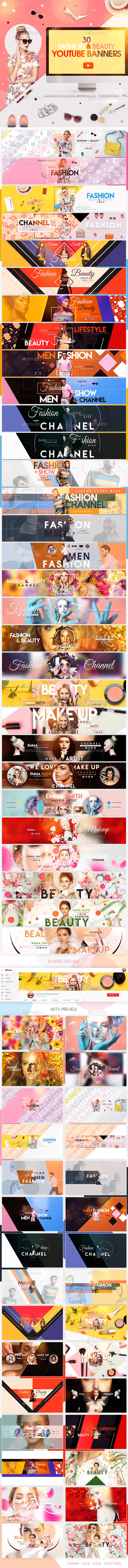 YouTube Bundle - 30 Creative Beauty & Fashion YouTube Banners - YouTube Social Media
