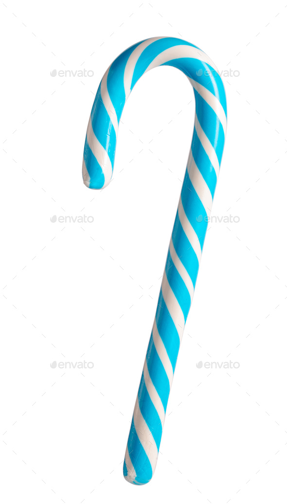 Blue candy cane isolated - Stock Photo - Images