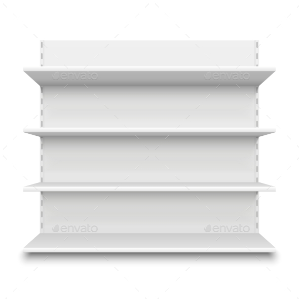 Empty Supermarket Shelf. Retail Store White Blank - Objects Vectors