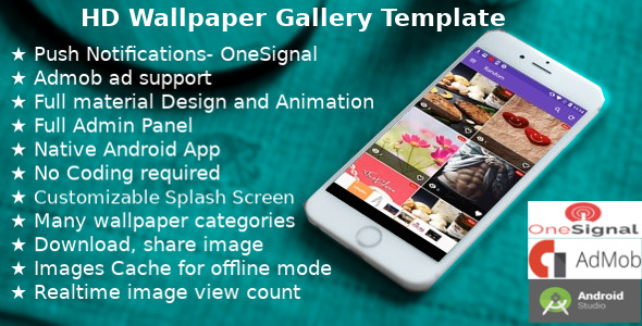 Wallpaper Gallery Template for Android with admob and push notification            Nulled