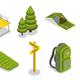 Isometric Camping Elements Set