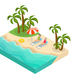 Isometric Retired People Summer Vacation Concept