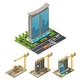 Isometric Building Construction Process Concept