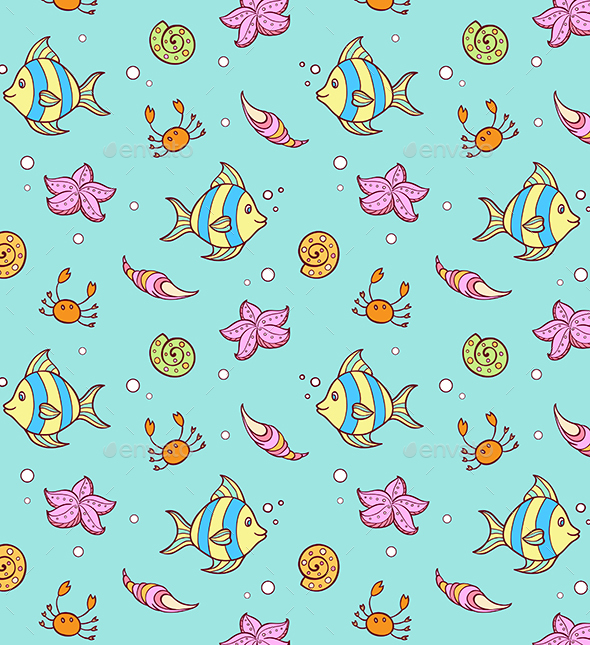Doodle Marine Pattern with Fish - Patterns Decorative