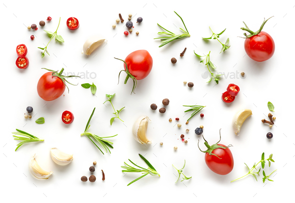 Tomatoes and various herbs and spices - Stock Photo - Images