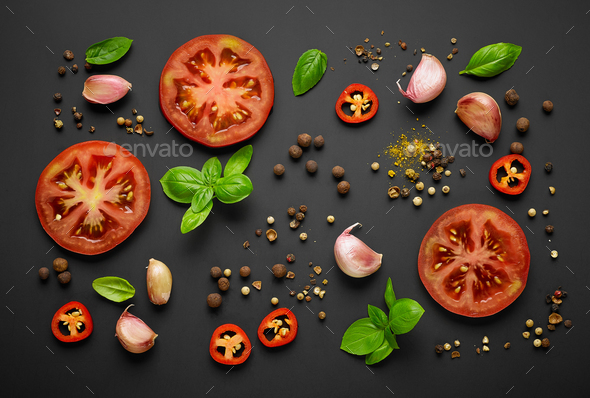 fresh vegetables and spices - Stock Photo - Images
