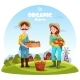 Farmer Man and Woman with Garden Harvest