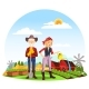 Woman at Farm and Farmer with Spade on Field - GraphicRiver Item for Sale