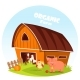 Cow at Barn and Pig at Farm Yard - GraphicRiver Item for Sale