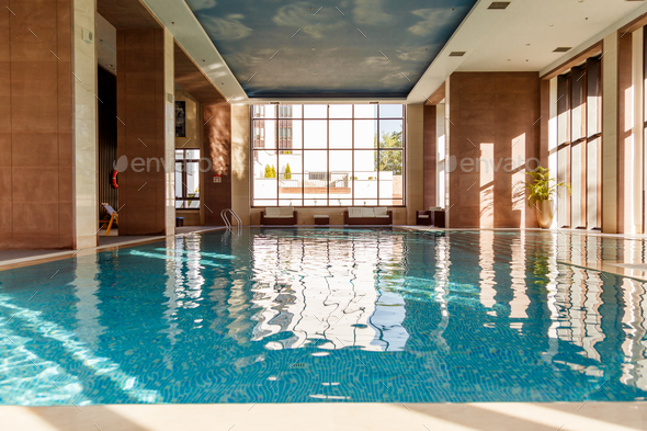 Indoor swimming pool interior - Stock Photo - Images