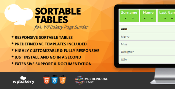 Sortable Tables Addon for WPBakery Page Builder (formerly Visual Composer) - CodeCanyon Item for Sale