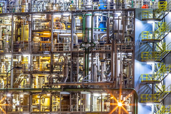 Chemical industry factory details at night - Stock Photo - Images
