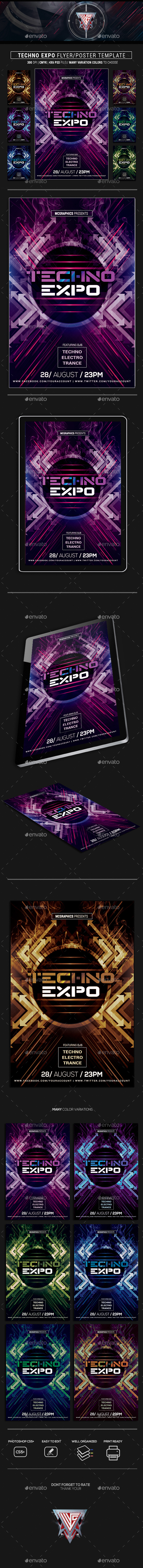 Techno Expo Photoshop Flyer/Poster Template - Flyers Print Templates